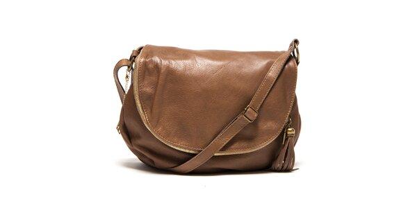 Dámská hnědá kožená kabelka s přívěskem a střapcem Isabella Rhea