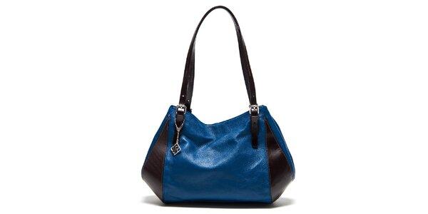 Dámská modro-hnědá kožená kabelka na zip Isabella Rhea