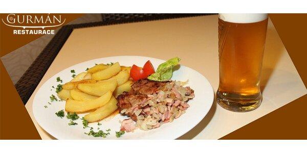 Dřevorubecký steak s americkými brambory a 0,5l 10˚ piva