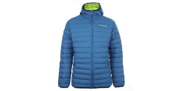 Pánská modrá prošívaná bunda s kapucí Fundango