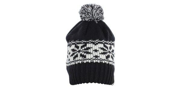 Dámská černá čepice s bílým vzorem Fundango