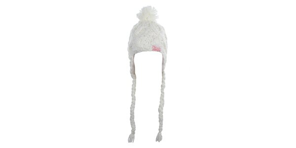 Dámská bílá pletená čepice s bambulí Fundango