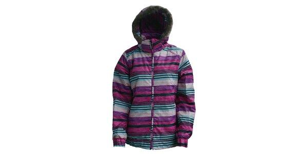 Dámská růžovo-fialovo-modrá zimní bunda Fundango s potiskem a membránou