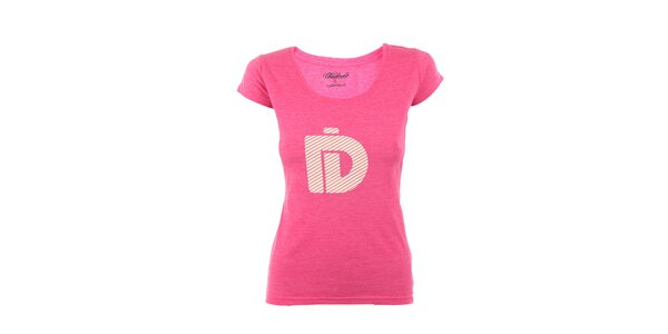 Dámské růžové tričko Fundango s krémovým potiskem