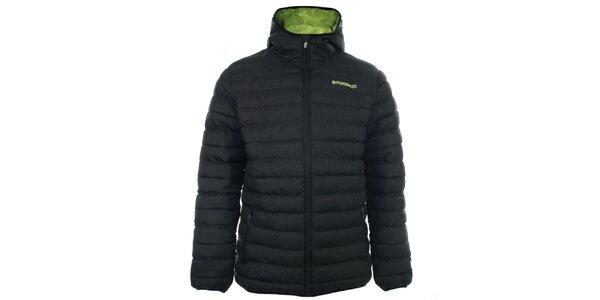 Pánská černá prošívaná bunda s kapucí Fundango