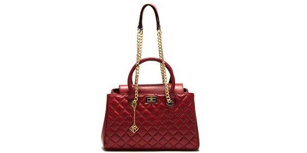 Dámská červená kabelka s prošíváním Isabella Rhea