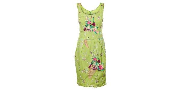 Dámské světle zelené šaty Uttam Boutique s potiskem