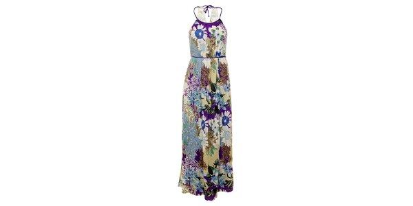 Dámské dlouhé modro-fialové šaty Uttam Boutique s květinovým potiskem