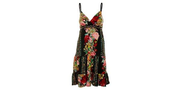 Dámské černé šaty Uttam Boutique s barevným potiskem