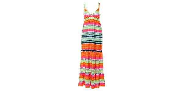 Dámské dlouhé duhové proužkované šaty Uttam Boutique