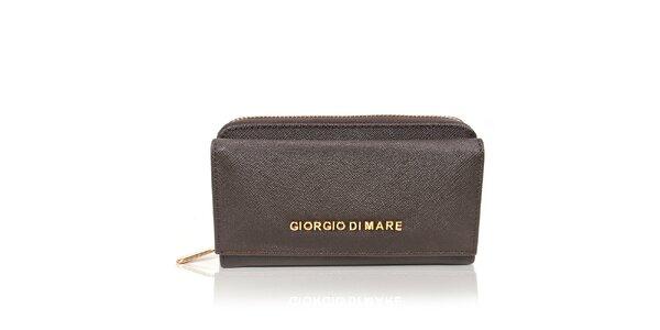 Dámská tmavě hnědá peněženka se zlatým zipem Giorgio di Mare