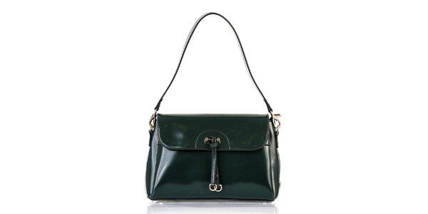Dámská tmavě zelená kabelka s klopou Giorgio di Mare - lesklá