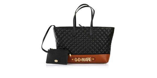 Dámská černá prošívaná kabelka s odepínací kapsičkou a hnědým pruhem Giorgio di…