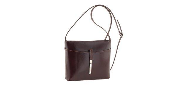Dámská tmavě hnědá kožená kabelka přes rameno Tina Panicucci