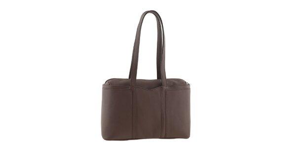 Dámská hnědá kožená kabelka na zip Tina Panicucci