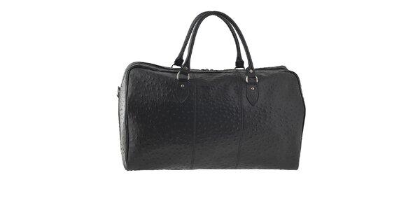 Dámská černá cestovní taška s motivem pštrosí kůže Tina Panicucci