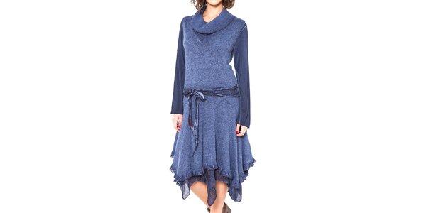 Dámské modré asymetrické šaty se zavazováním v pase Mademoiselle Agathe