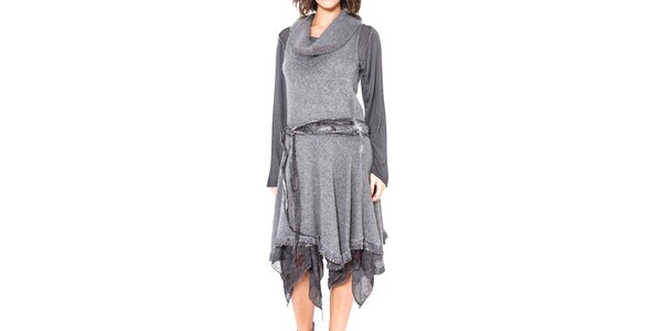 Dámské šedé asymetrické šaty se zavazováním v pase Mademoiselle Agathe