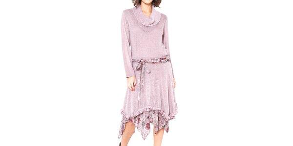 Dámské růžové asymetrické šaty se zavazováním v pase Mademoiselle Agathe