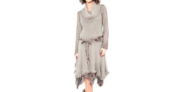 Dámské šedobéžové šaty se zavazováním v pase Mademoiselle Agathe