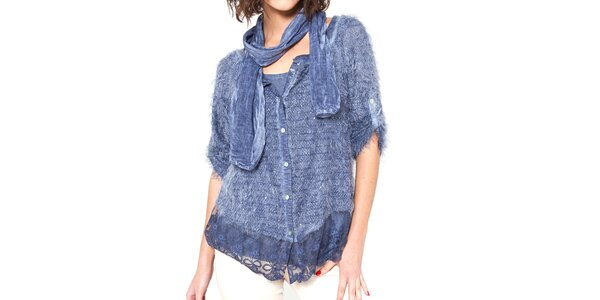 Dámský modrý chlupatý svetřík s trikem a šálou Mademoiselle Agathe