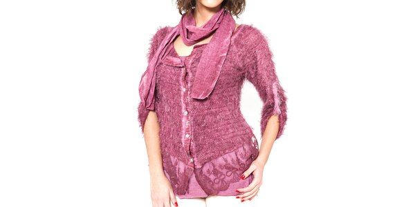 Dámský růžový chlupatý svetřík s trikem a šálou Mademoiselle Agathe