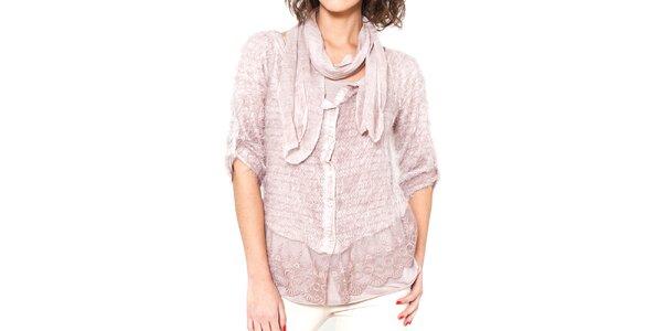 Dámský světle růžový chlupatý svetřík s trikem a šálou Mademoiselle Agathe