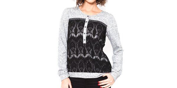 Dámský šedo-černý svetr Mademoiselle Agathe
