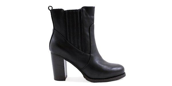 Dámské černé kotníkové boty na podpatku Ctogo Gogo
