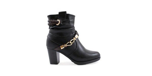 Dámské černé kotníkové boty se zlatými komponenty Ctogo Gogo