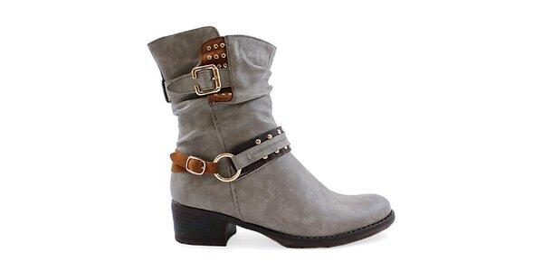 Dámské šedé boty s ozdobnými pásky Ctogo Gogo