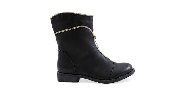 Dámské černé boty s ozdobným zipem Ctogo Gogo