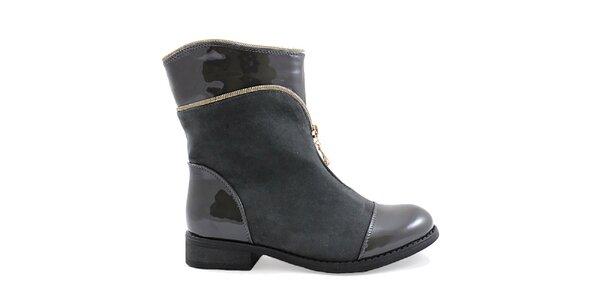 Dámské šedé boty s ozdobným zipem Ctogo Gogo