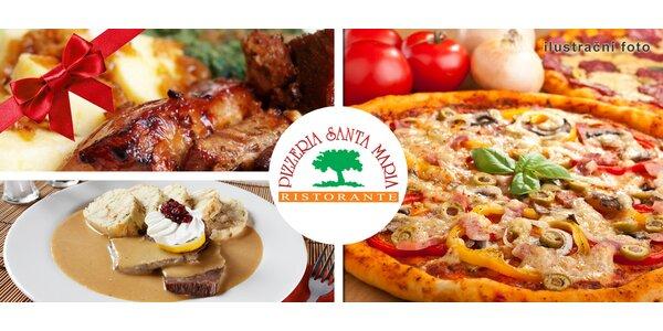 Vánoční voucher na konzumaci v pizzerii Santa Maria