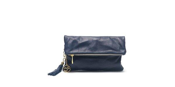Dámská modrá kožená kabelka do ruky Carla Ferreri