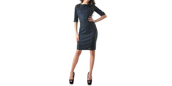 Dámské černo-modré šaty s růžemi Female Fashion