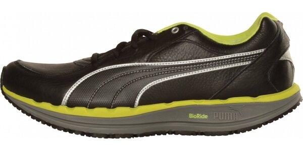 Pánské černé sportovní tenisky Puma se zelenými detaily