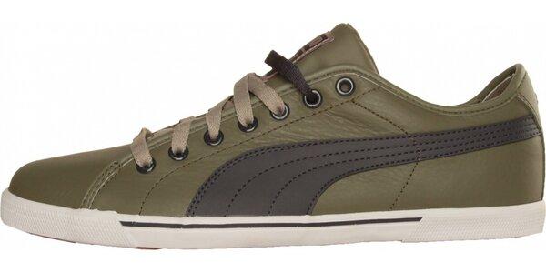 Pánské olivově zelené tenisky Puma s šedým pruhem