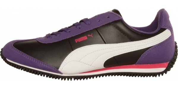 Dámské černo-fialové tenisky Puma s bílými detaily
