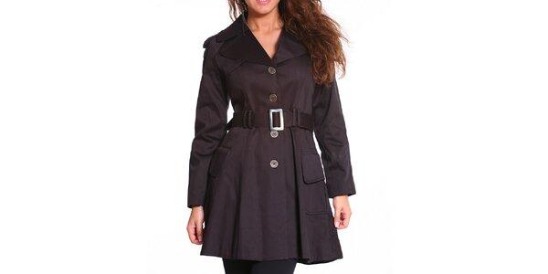 Dámský černý kabát s páskem Vera Ravenna