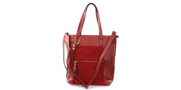 Dámská červená prostorná kabelka s třásněmi Bessie