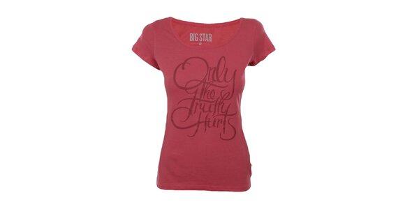 Dámské červené tričko s nápisem Big Star