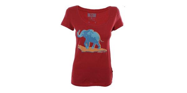 Dámské červené tričko se slonem Big Star