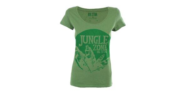 Dámské zelené tričko s potiskem džungle Big Star