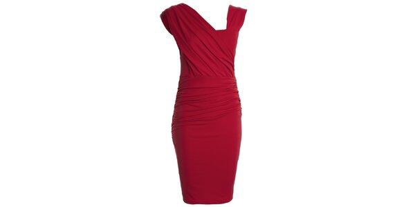 Dámské červené šaty s asymetrickým výstřihem CeMe London