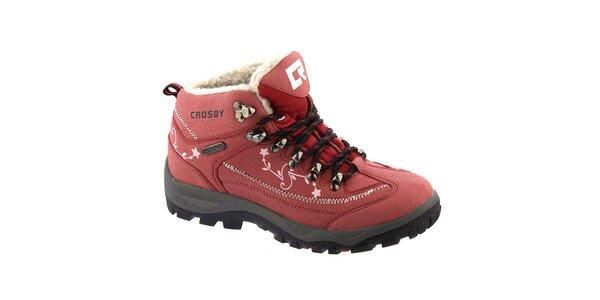 Dámské červené kotníkové boty s potiskem Crosby