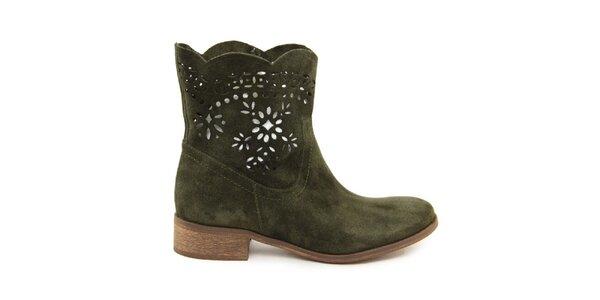 Dámské zelené kotníčkové semišové boty s perforací Giorgio Picino
