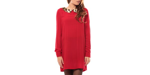 Dámské červené šaty s leopardím límcem My Little Poesy