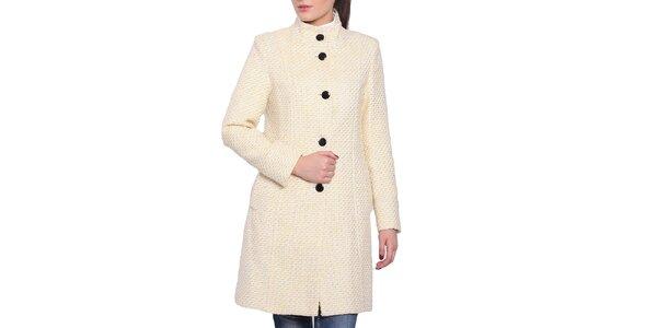 Dámský bílo-žlutý kabát s černými knoflíky Vera Ravenna