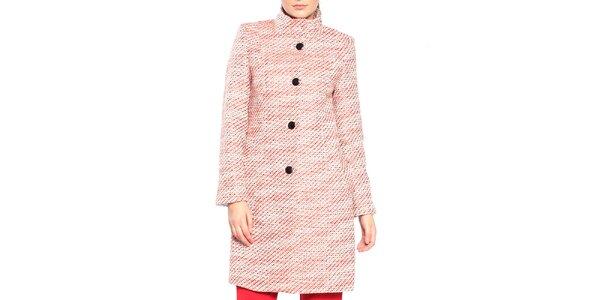 Dámský červeno-bílý vzorovaný kabát Vera Ravenna